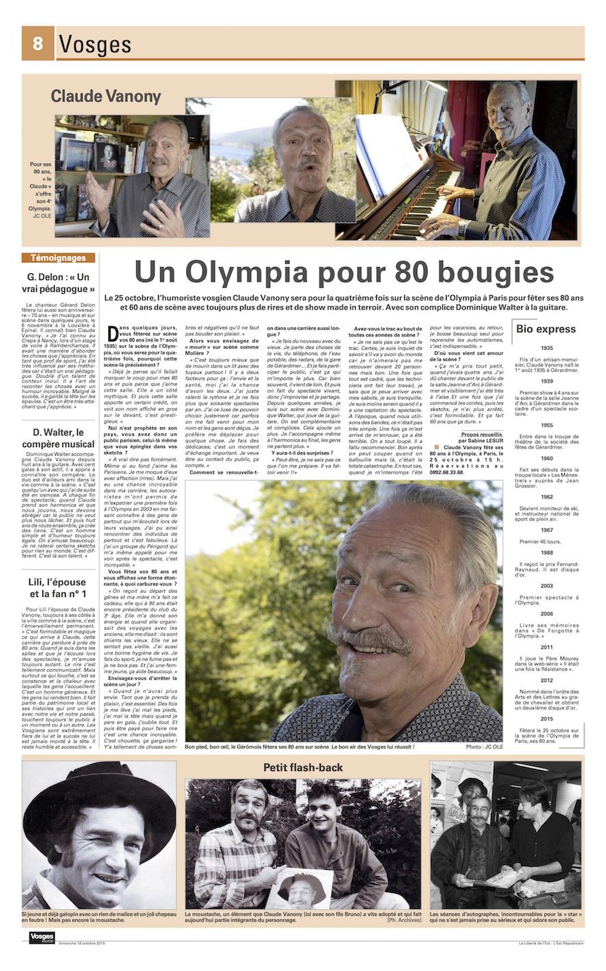 page de vosges matin sur les 80 ans de Claude